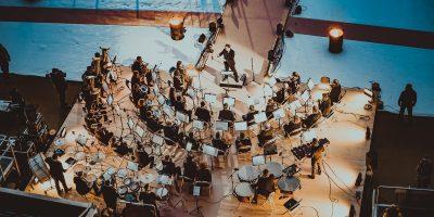 Orchester während des Spiels zwischen den Schwenninger Wild Wings gegen die Adler Mannheim beim 3. DEL Wintergame am 07.01.2017 in Sinsheim, Deutschland. (Foto von City-Press GbR)