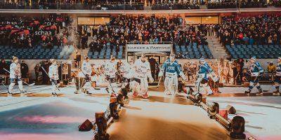 Die Spieler der beider Mannschaften laufen auf vor dem Spiel zwischen den Schwenninger Wild Wings gegen die Adler Mannheim beim 3. DEL Wintergame am 07.01.2017 in Sinsheim, Deutschland. (Foto von City-Press GbR)